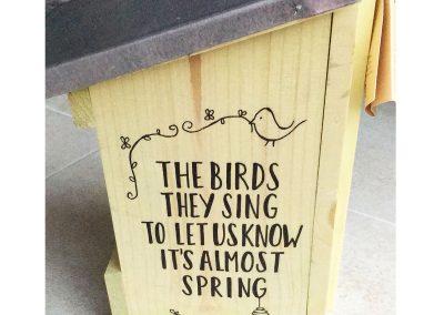Handlettering: vogelhuisje
