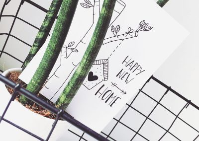 Handlettering kaart: happy new home