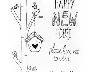 Handlettering kaart: happy new house, a place for me to visit