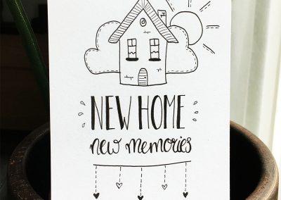 Handlettering kaart: new home, new memories