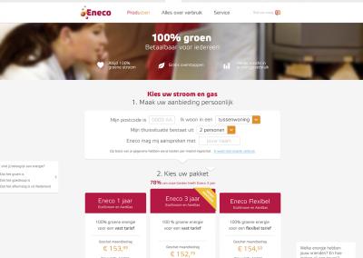 Persuade customersEneco website